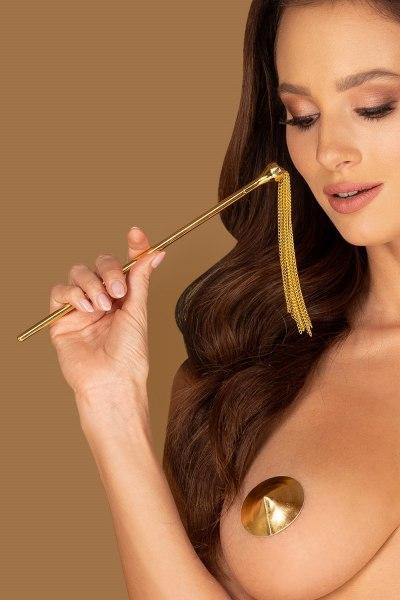 Peitsche und Feder mit goldenem Metallgriff