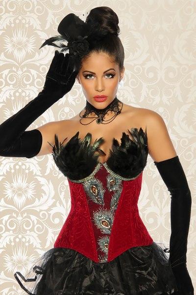 Burlesque-Corsage rot mit Federn