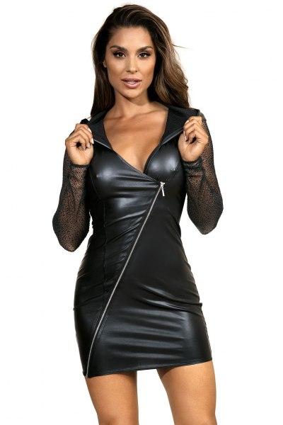 Langarm-Kleid im Latex-Style